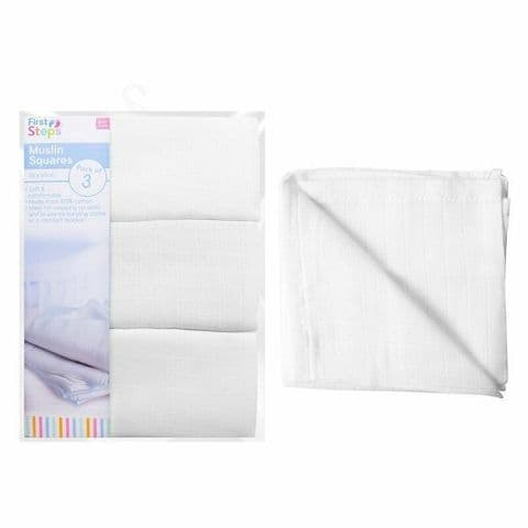First Step - 3 Pack White Muslin Squares - 60cm x 60cm